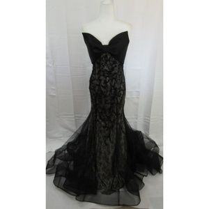 Mac Duggal Black & Ivory Strapless Black Gown 10